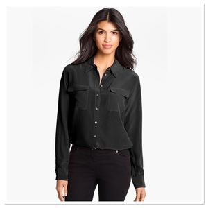 Two by Vince Camuto Silk Utility Blouse M Black